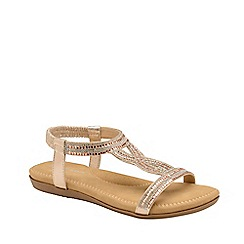 Dunlop - Rose Gold 'Cynthia' ladies flat sandals
