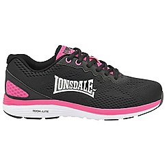Lonsdale - Black and fuchsia 'Lisala' ladies lace up trainers