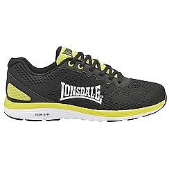 Lonsdale - Black/Yellow 'Lisala' mens lace up sports trainers