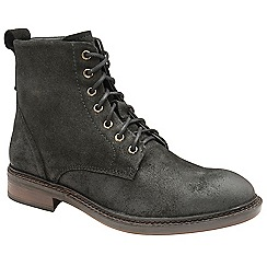 Frank Wright - Black 'Call' oiled suede lace up boots