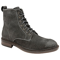 Frank Wright - Grey 'Call' oiled suede lace up boots
