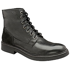 Frank Wright - Black 'Hardy' leather lace up military boots