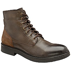Frank Wright - Brown 'Hardy' leather lace up military boots