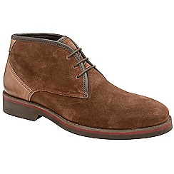 Frank Wright - Brown 'Stamp' suede lace up boots