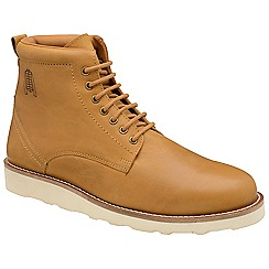 Frank Wright - Tan 'Luthor' leather/ecru lace up boots