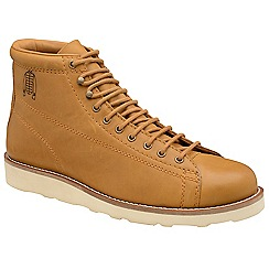Frank Wright - Tan 'Negan' leather/ecru lace up boots