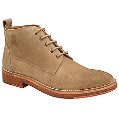 Frank Wright - Biscuit 'Russell' washed suede lace up boots
