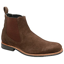 Frank Wright - Chocolate 'Hopper' suede slip on chelsea boots
