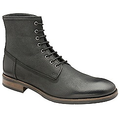 Frank Wright - Black 'Cleef' leather lace up military boots