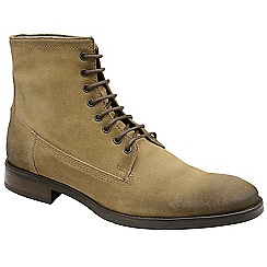 Frank Wright - Sand 'Cleef' oiled suede lace up military boots