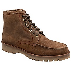 Frank Wright - Chocolate 'Coburn' suede/fleece lace up boots