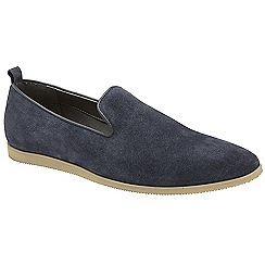 Frank Wright - Navy 'Dartmoor' slip on suede loafers