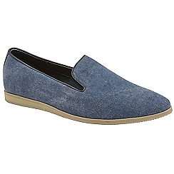 Frank Wright - Navy 'Shire' mens slip on casual canvas loafers