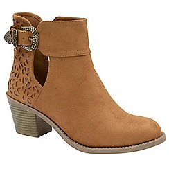 Dolcis - Tan 'Beth' ladies heeled ankle boots