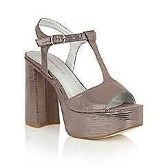 Dolcis - Pewter 'Valentina' platform T-bar sandals