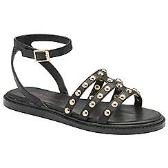 Dolcis - Black 'Jemima' ladies flat studded sandals