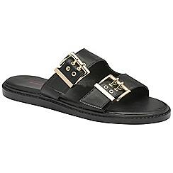 Dolcis - Black 'Joni' ladies slip on buckle detail sandals