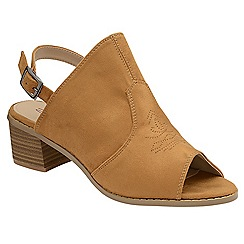 Dolcis - Tobacco 'Nancy' ladies open toe block heeled shoes