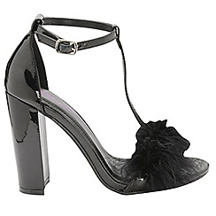 Dolcis - Black 'Lacey' ladies T-bar high heeled sandals