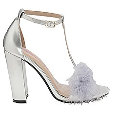 Dolcis - Silver 'Lacey' ladies T-bar high heeled sandals