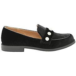 Dolcis - Black 'Michaella' ladies slip on velvet loafers