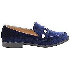 Dolcis - Navy 'Michaella' ladies slip on velvet loafers