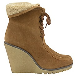 Ravel - Chestnut 'Troy' ladies lace up wedge ankle boots
