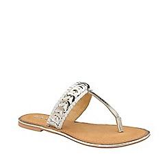 Ravel - White 'Desoto' leather flat t-bar sandals