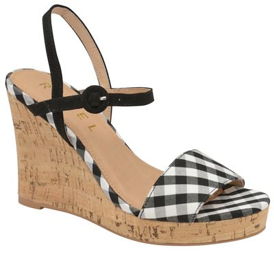 54e1aa41d8 Ravel Black check 'Hobson' ladies high heeled wedges | Debenhams