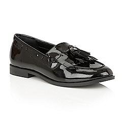 Ravel - Black patent 'Tilden' ladies slip on loafers