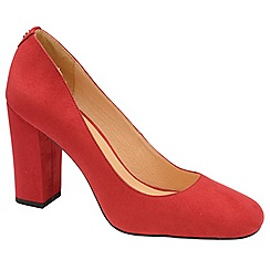 Ravel - Red 'Baldwin' block heel court shoes