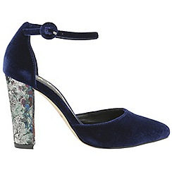 Ravel - Blue 'Milton' ladies velvet ankle strap sandals