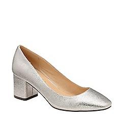 Ravel - Silver 'Barton' block heel court shoes