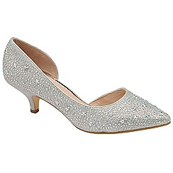 Ravel - Silver 'Doral' kitten heel court shoes