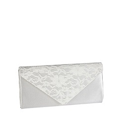 Pink by Paradox London - Ivory satin and lace envelope clutch bag