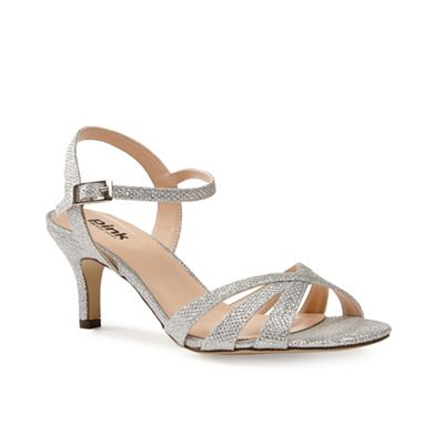 Pink by Paradox London - Glitter 'shelby' mid kitten heel ankle strap sandals