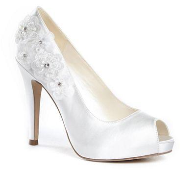 Pink by Paradox London - Satin 'cornflower' high heel platform peep toe shoes