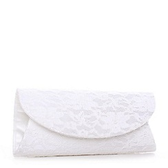 Pink by Paradox London - Ivory curve flap 'Dorothy' lace clutch bag