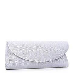 Pink by Paradox London - Silver curve flap 'Dominique' glitter clutch bag