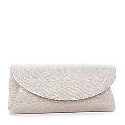 Pink by Paradox London - Gold curve flap 'Dominique' glitter clutch bag