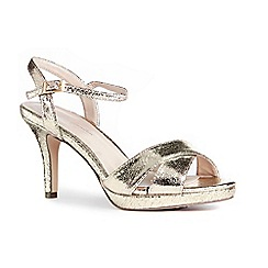Pink by Paradox London - Gold glitter 'Chelsee' high heel stiletto ankle strap sandals
