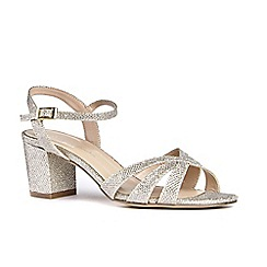 Pink by Paradox London - Gold glitter 'Colette' mid heel wide fit ankle strap sandals