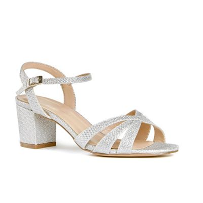 Pink by Paradox London - Silver glitter 'Colette' mid heel wide fit ankle  strap
