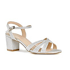 Pink by Paradox London - Silver glitter 'Colette' mid heel wide fit ankle strap sandals