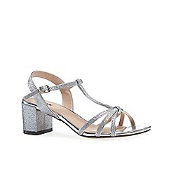 Pink by Paradox London - Silver glitter 'Sadie' mid heel block heel t-bar sandals