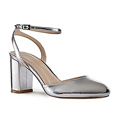 e4d901c7dfec Pink by Paradox London - Silver patent  Andrea  mid heel block heel ankle  strap