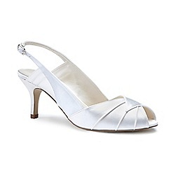 Pink by Paradox London - Ivory satin 'Cecilia' mid heel stiletto sling back peep toe shoes