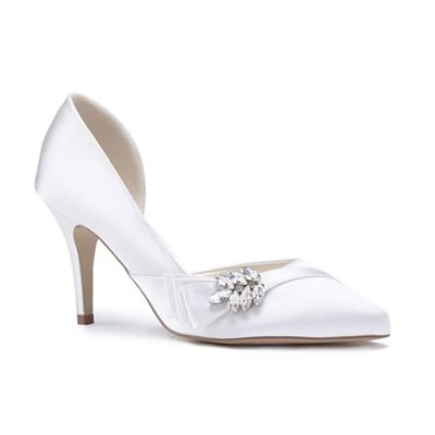 Pink by Paradox London - Ivory satin 'Adrienne' high heel stiletto court shoes