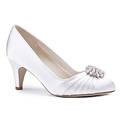 Pink by Paradox London - Ivory satin 'Alaina' mid heel stiletto court shoes