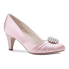 Pink by Paradox London - Pink satin 'Alaina' mid heel stiletto court shoes